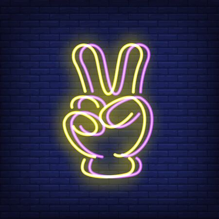 Victory sign gesture neon sign with chromatic aberration effect. Win, success advertising design. Night bright neon sign, colorful billboard, light banner. Vector illustration in neon style. Ilustração