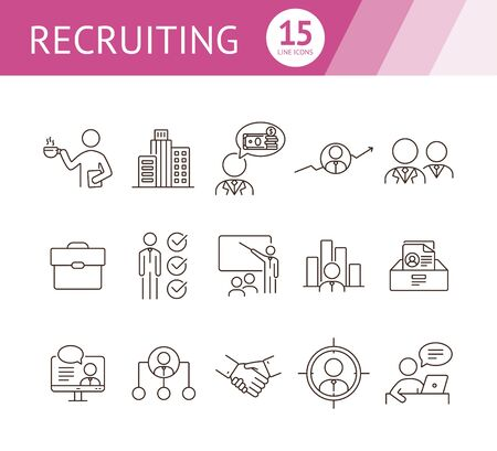 Recruiting line icon set. Office, candidate, salary, video interview. Human resource concept. Can be used for topics like career, job, HR, employment Vectores
