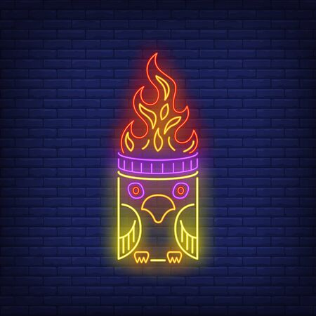 Totem pole with bird and fire flame neon sign. Culture, idol, religion design. Night bright neon sign, colorful billboard, light banner. Vector illustration in neon style.