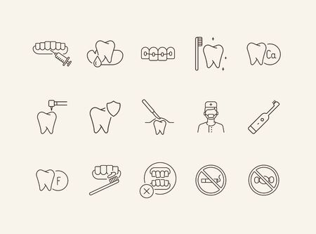Caries icons. Set of line icons. Dentist, tooth, pain. Medicine concept. Vector illustration can be used for topics like stomatology, treatment, patient Illustration