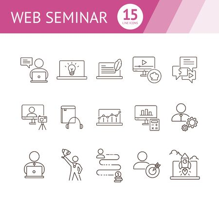 Web seminar line icon set. Computer, achievement, webinar. Self-development concept. Can be used for topics like education, gamification, technology