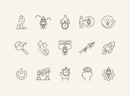 Leadership icons. Set of line icons. Boss, example, management.. Business concept. Vector illustration can be used for topics like startup, industry, creativity.