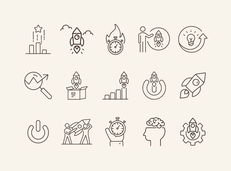 Brainstorm icons. Set of line icons. Teamwork, new project, mutual goals. Business concept. Vector illustration can be used for topics like communication, business, partnership