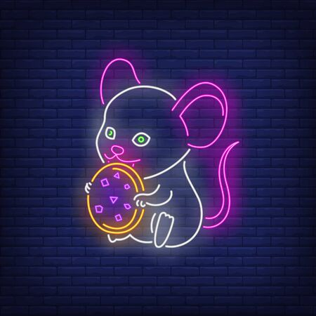 Cute mouse eating cookie neon sign. New Year Day, animal design. Night bright neon sign, colorful billboard, light banner. Vector illustration in neon style. Illustration