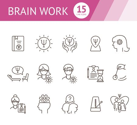 Brain work line icon set. Human head, gear, psychologist office. Psychology concept. Can be used for topics like psychoanalysis, mental activity, science Vectores