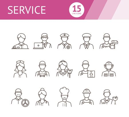Service icons. Set of line icons on white background. Doctor, driver, barman. Profession concept. Vector illustration can be used for topics like career, skill, occupation