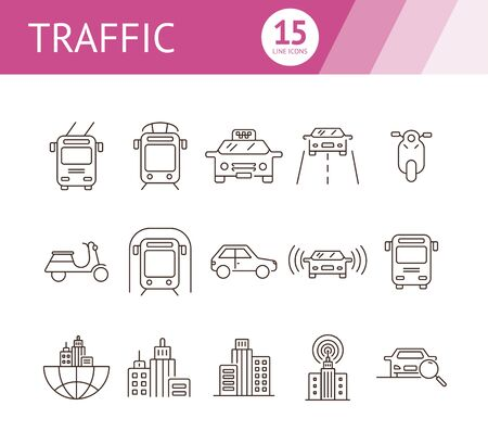 Traffic line icon set. Taxi, car, subway, downtown. Transport concept. Can be used for topics like vehicle, city, urban traffic, commuting Ilustração
