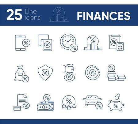 Conjunto de iconos de finanzas. Colección de iconos de línea sobre fondo blanco. Dinero, crédito, venta. Concepto de ahorro. Se puede utilizar para temas como economía, préstamos, banca. Ilustración de vector
