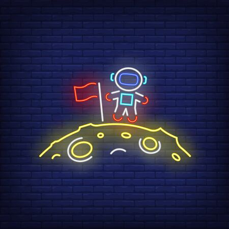 Astronaut with flag on moon neon sign. Astronomy, lunar mission, advertisement design. Night bright neon sign, colorful billboard, light banner. Vector illustration in neon style.