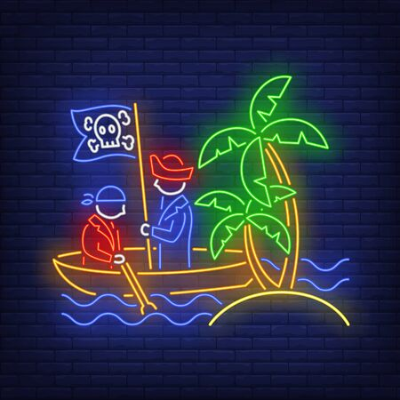 Pirates on boat and island with palm trees neon sign. Adventure, vessel, danger design. Night bright neon sign, colorful billboard, light banner. Vector illustration in neo n style.
