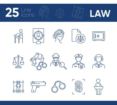 Law line icon set. Police officer, detective, judge, courthouse. Justice concept. Can be used for topics like investigation, crime, punishment Ilustração