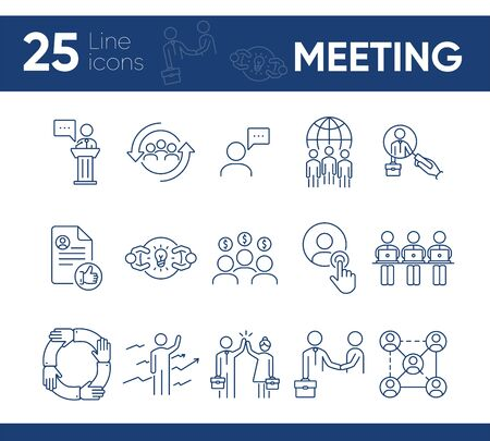 Meeting line icon set. Team, partners, staff. Business concept. Can be used for topics like leadership, dealing, partnership