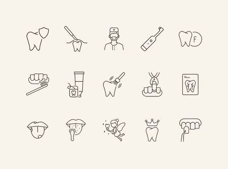 Teeth cleaning line icon set. Doctor, brush, toothpaste, fairy. Dental care concept. Can be used for topics like denture, dentist, pediatric dentistry Illustration
