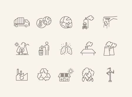 Waste line icon set. Planet, trash bin, car, factory. Environment concept. Can be used for topics like air pollution, toxic fumes, recycling Ilustracja