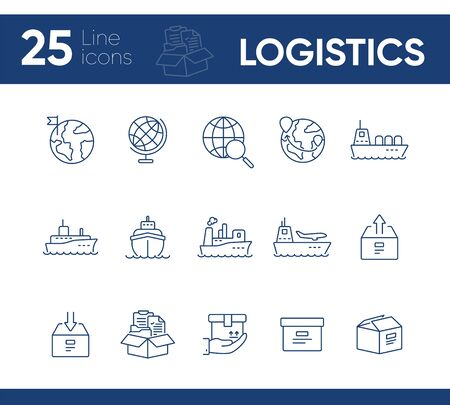 Logistics line icon set. Worlwide export and packaging concept.Vector illustration can be used for topics like marine, transportation, export 일러스트