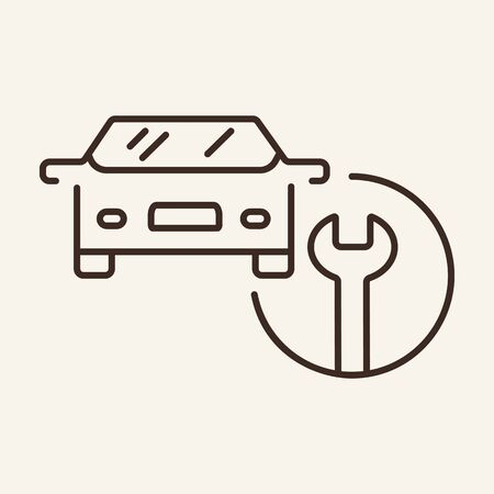 Car service line icon. Mechanics, auto service, tools. Car repair concept. Vector illustration can be used for topics like auto service, motor maintenance, advertising Stockfoto - 128419629