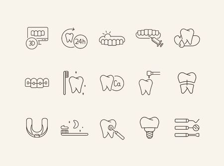 Stomatology line icon set. Teeth, brush, dentist, implant, braces. Dental care concept. Can be used for topics like denture, dentistry, clinic
