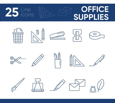 Office supplies icon set. Line icons collection on white background. Pencil, school, office. College concept. Can be used for topics like stationary, lesson, bookkeeping