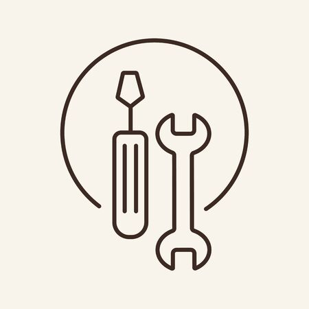 Auto mechanics tools line icon. Artificer, auto service, tools. Car repair concept. Vector illustration can be used for topics like auto service, motor maintenance, advertising