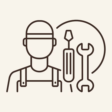 Mechanic line icon. Artificer, auto service, tools. Car repair concept. Vector illustration can be used for topics like auto service, motor maintenance, advertising