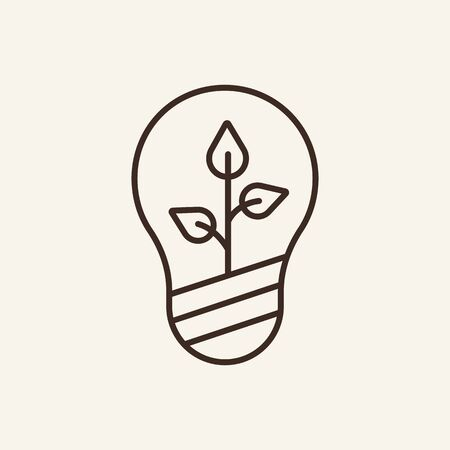 Eco idea line icon. Light bulb, plant, insight. Eco technology concept. Vector illustration can be used for topics like environment security, ecology, business