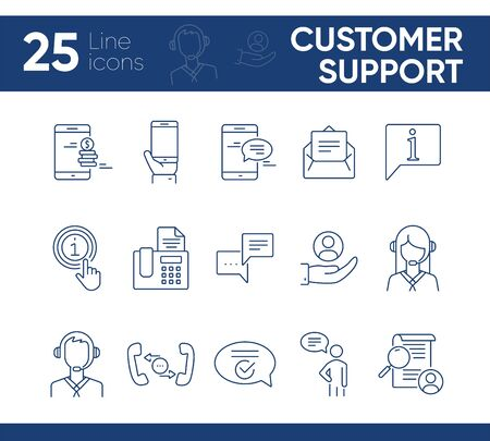 Customer support line icon set. Online chat, mobile phone, fax, operator. Service concept. Can be used for topics like help, assistance, communication