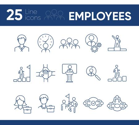 Employees icons. Line icons collection on white background. Cooperation, negotiation, career. Businesspeople concept. Vector illustration can be used for topic like business, partnership, management