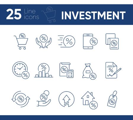Investment icon set. Line icons collection on white background. Credit, loan, percent. Selling concept. Can be used for topics like money, finances, economy Illustration