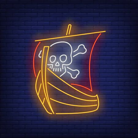 Pirate ship with skull and crossed bones on sail neon sign. Adventure, vessel, danger design. Night bright neon sign, colorful billboard, light banner. Vector illustration in neo n style.