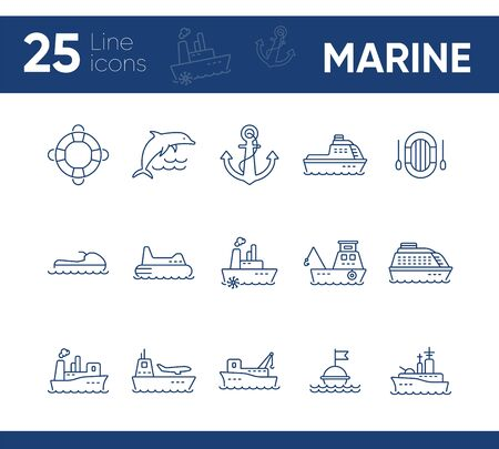 Marine line icon set. Sea transportation concept. Vector illustration can be used for topics like marine, transport, travel