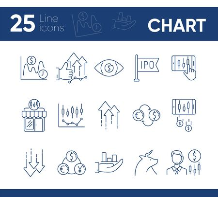 Chart line icon set. Profit, growth, ipo. Development concept. Can be used for topics like commerce, stock market, banking Illusztráció