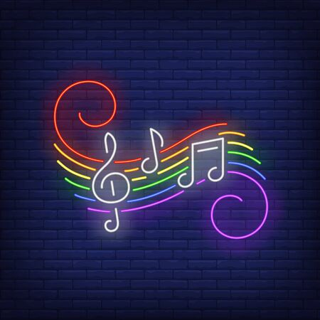 Music notes with neon sign.  Night bright neon sign, colorful billboard, light banner. Vector illustration in neon style.