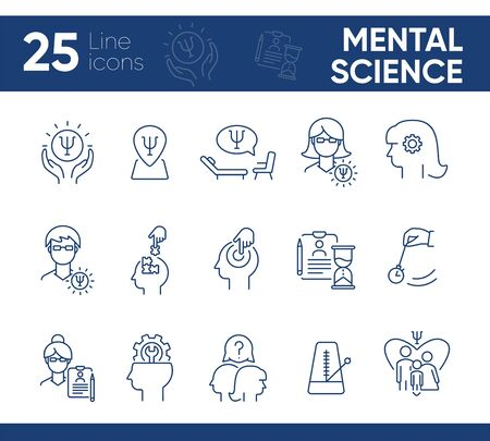 Mental science line icon set. Patient, psychologist, brain work. Psychology concept. Can be used for topics like psychoanalysis, mental activity, family therapy