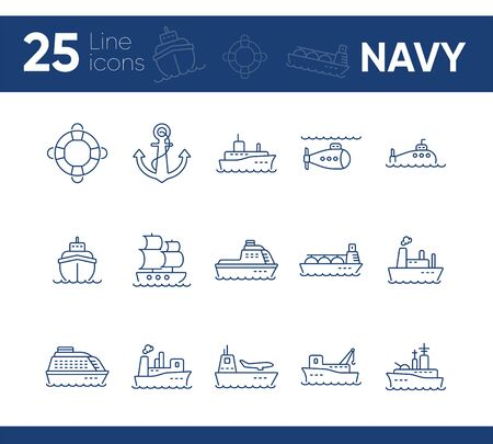 Navy line icon set. Sea transportation concept. Vector illustration can be used for topics like marine, transport, travel