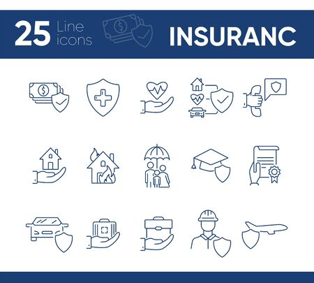 Insurance line icon set. Shield, risk, damage. Accident concept. Can be used for topics like life insurance, service, safety Ilustrace