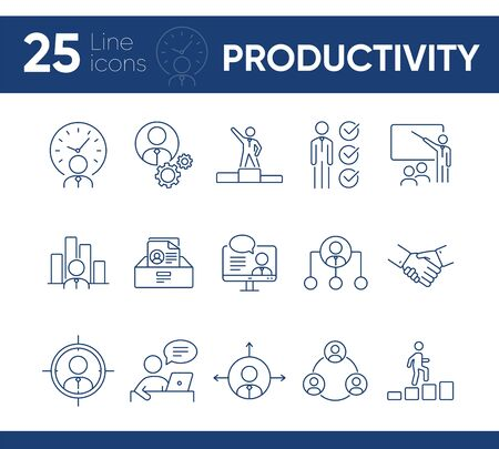 Productivity icons. Line icons collection on white background. Goal, victory, working hours. Management concept. Vector illustration can be used for topics like business, career, teamwork