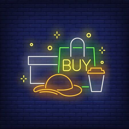 Buy neon lettering, shopping bag, box, woman hat, plastic cup. Retail, marketing, sale design. Night bright neon sign, colorful billboard, light banner. Vector illustration in neon style.