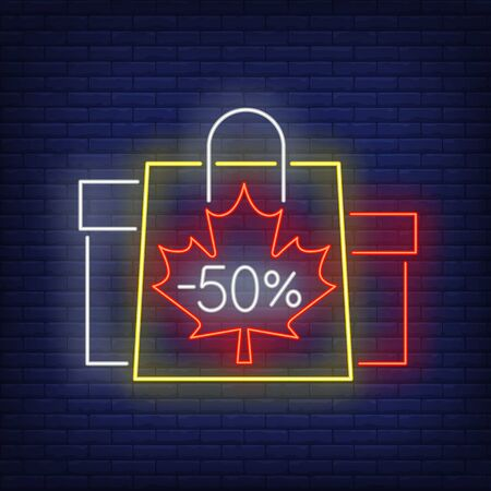 Minus fifty percent neon lettering with shopping bags and boxes. Discount, sale design. Night bright neon sign, colorful billboard, light banner. Vector illustration in neon style.