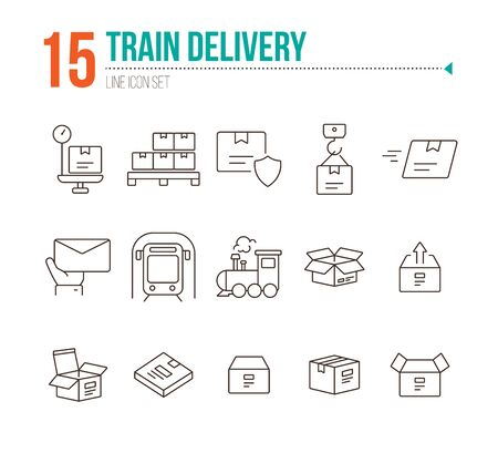 Train delivery icons. Set of line icons. Locomotive, subway, open box. Postal service concept. Vector illustration can be used for topics like transportation, delivery service, logistics