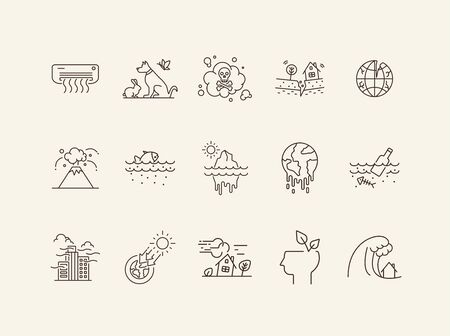 Natural catastrophes icons. Set of line icons. Toxic fumes, breaking planet, animals. Ecology concept. Vector illustration can be used for topics like environment protection, nature
