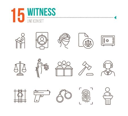 Witness line icon set. Scale, jury bench, judge, court. Justice concept. Can be used for topics like crime, trial, legal procedure