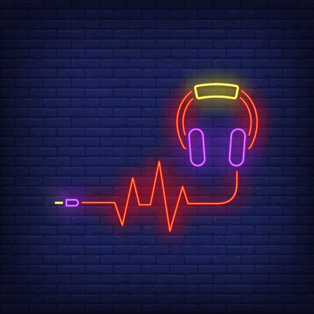 Headphones and sound wave made of cable neon sign. Music, audio, device design. Night bright neon sign, colorful billboard, light banner. Vector illustration in neon style.