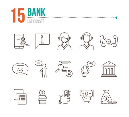 Bank line icon set. Mobile app, operator, money, cash. Finance concept. Can be used for topics like customer support, service, loan Ilustração