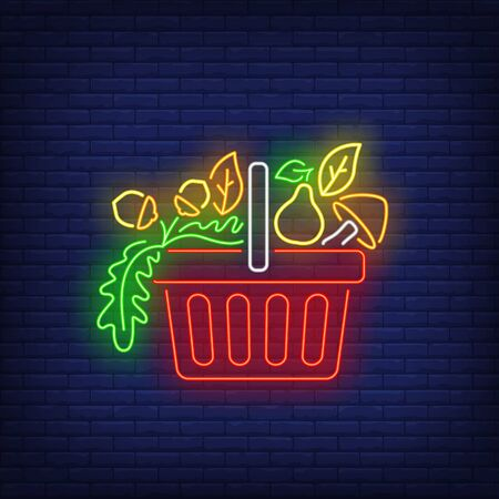 Pera, champiñones y avellanas en letrero de neón de la cesta de la compra. Compra, compra, venta de diseño. Letrero de neón brillante de noche, cartelera colorida, banner de luz. Ilustración de vector de estilo neón. Ilustración de vector