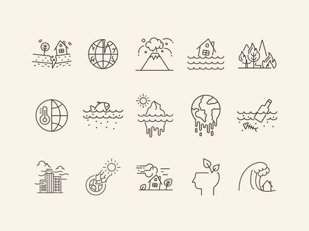 Natural calamities icons. Set of line icons. Forest fire, earthquake, melting glacier. Ecology concept. Vector illustration can be used for topics like environment protection, nature Illustration