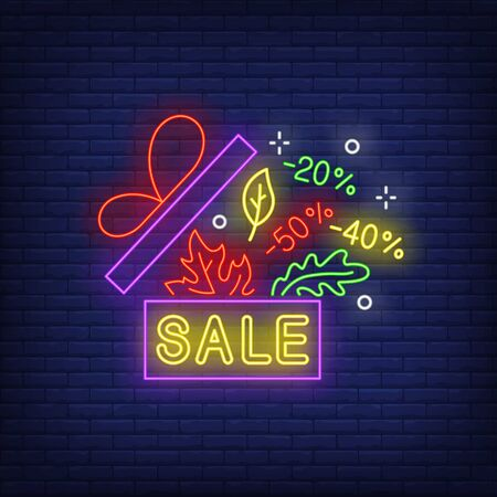 Sale neon lettering, autumn leaves and discounts in gift box. Shopping, promotion, sale design. Night bright neon sign, colorful billboard, light banner. Vector illustration in neon style.