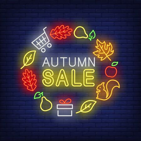 Autumn sale neon lettering with leaves, pears, gift, squirrel. Shopping, discount, sale design. Night bright neon sign, colorful billboard, light banner. Vector illustration in neon style.