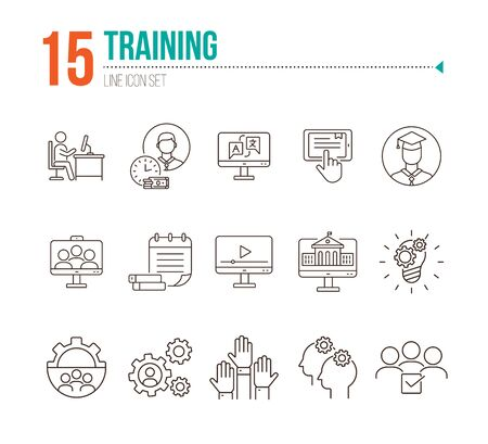 Training line icon set. Instruction, course, education. Webinar concept. Can be used for topics like knowledge, info business Ilustração