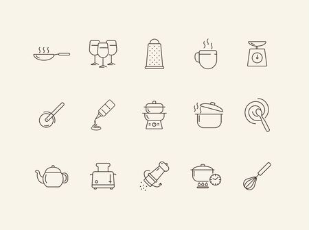 Culinary line icons. Set of line icons. Wine glasses, toaster, cooking pot. Cuisine concept. Vector illustration can be used for topics like restaurant business, cooking Ilustração