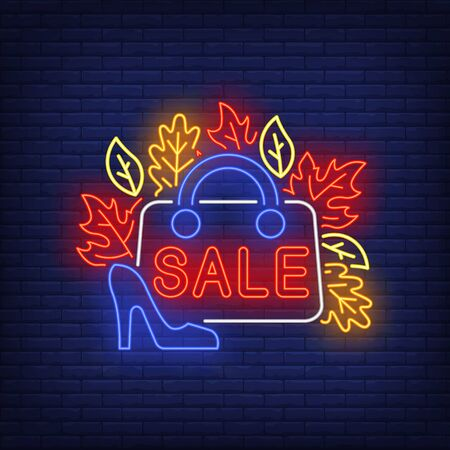 Sale neon lettering on woman bag, autumn leaves and heeled shoes. Shopping, discount, sale design. Night bright neon sign, colorful billboard, light banner. Vector illustration in neon style.
